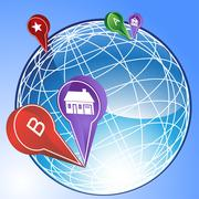 3d globe with points of interest - stock illustration