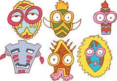 Tribal masks Stock Illustration
