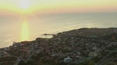 Aerial view of sea coast, sunrise Stock Footage