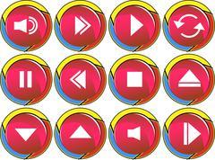multimedia icons - stock illustration