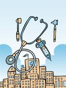 medical tools and building - stock illustration