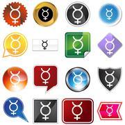 mercury planetary sign icon set - stock illustration