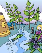 kid adventures: fishing in michigan - stock illustration