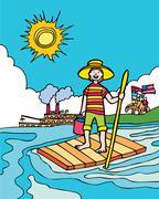 kid adventures: summer in mississippi - stock illustration