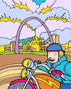 kid adventures: motorcycle ride in st. louis - stock illustration