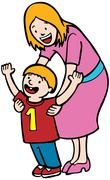 Mother teaching first step Stock Illustration