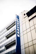 Karstadt logotype on shopping mall building Stock Photos