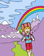kid adventures: hiking in the mountains - stock illustration