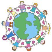 globe with surrounding kids - stock illustration