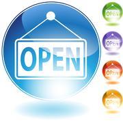 open sign - stock illustration