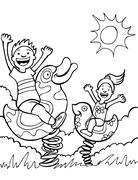 kids playing on park rides - stock illustration