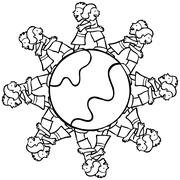 globe with surrounding kids hugging - b and w - stock illustration