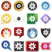 multiple buttons - poinsettia - stock illustration