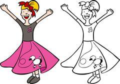 girl in poodle skirt - stock illustration