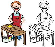 printer maker - stock illustration