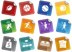 Sports buttons - sticker Stock Illustration
