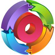 process circle diagram - 3d arrows - stock illustration