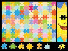 sunshine puzzle pieces - stock illustration