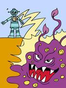 attacking robot - stock illustration