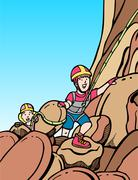 Kids rock climbing Stock Illustration