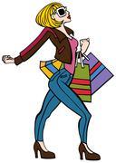 Stylish shopper Stock Illustration