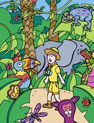 kids adventure - stock illustration