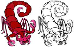 Scorpion cartoon character line art Stock Illustration