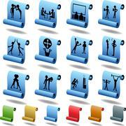 teamwork icon set: scroll - stock illustration