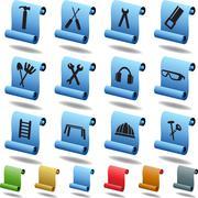 Stock Illustration of hardware icon set: scroll series
