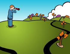 searching businessman - stock illustration