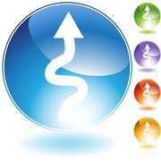 Sharp turn crystal icon Stock Illustration