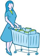 shopping groceries - stock illustration