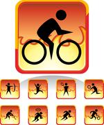 Sports button - fire Stock Illustration
