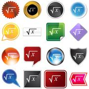 Square root icon set Stock Illustration