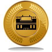 gold coin - stadium - stock illustration
