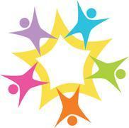 teamwork starburst - stock illustration