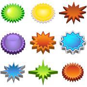 Three dimensional starburst stickers Stock Illustration