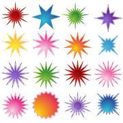 Set of 16 starburst shapes Stock Illustration