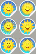 sunshine stickers - stock illustration