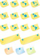 multimedia buttons: post it note - stock illustration