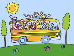 sunshine bus - profile - stock illustration