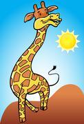 giraffe with desert background - stock illustration