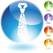swirl necktie crystal icon - stock illustration