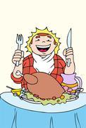 Thanksgiving feast Stock Illustration