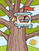 treehouse - stock illustration