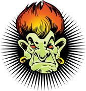 flaming haired troll - stock illustration