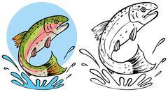 Trout splashing Stock Illustration
