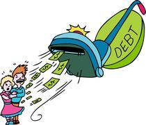 debt vacuum - stock illustration