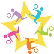 Stock Illustration of teamwork volleyball starburst