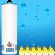 water heater with element icons - stock illustration